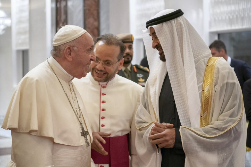 Pope Francis, Head of the Catholic Church is welcomed by Abu Dhabi's Crown Prince Mohammed bin Zayed Al-Nahyan upon his arrival at Abu Dhabi International airport in Abu Dhabi