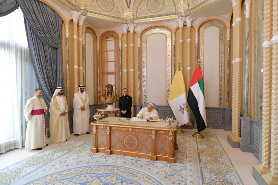 Pope Francis meets Vice-President of the United Arab Emirates and ruler of Dubai Sheikh Mohammed bin Rashid al-Maktoum, and Abu Dhabi's Crown Prince Mohammed bin Zayed Al-Nahyan during a welcome ceremony at the Presidential Palace in Abu Dhabi