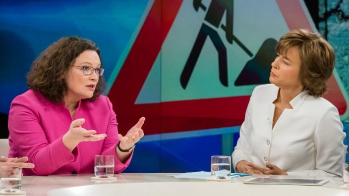 "SPD-Chefin Andrea Nahles bei ""Maybrit Illner"""