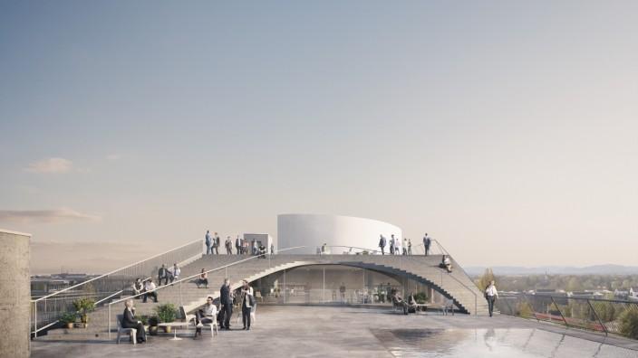 Architektur: Was für ein Pausenraum: Auf dem Dach soll eine 2000 Quadratmeter große Terrasse zur Entspannung einladen. Simulation: Euroboden