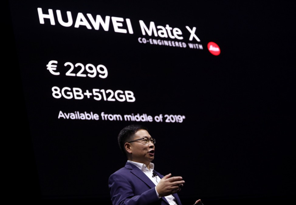 Richard Yu, CEO of the Huawei Consumer Business Group presents the new Mate X smartphone, ahead of the Mobile World Congress (MWC 19) in Barcelona