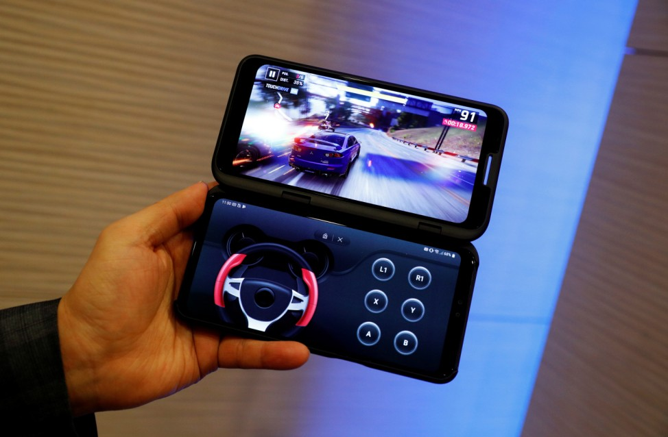 New mobile LG V50 with Dual Screen is displayed before the Mobile World Congress in Barcelona, Spain