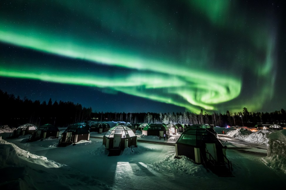 The Aurora Borealis (Northern Lights) is seen in the sky over Arctic Snowhotel in Rovaniemi