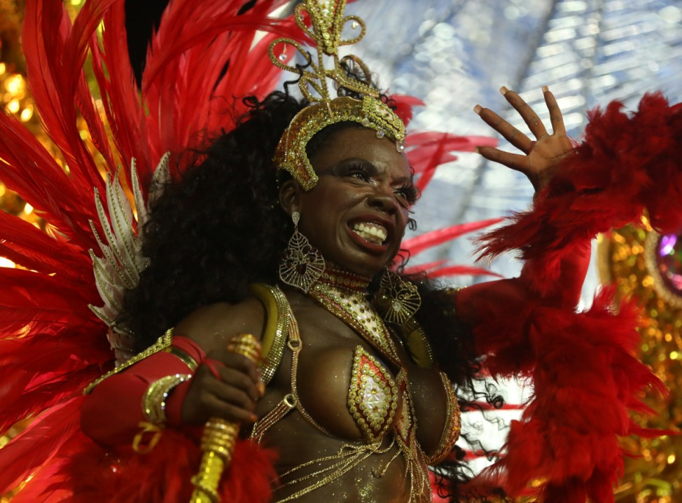 Revellers from Viradouro samba school perform during the first night of the Carnival parade in Rio de Janeiro