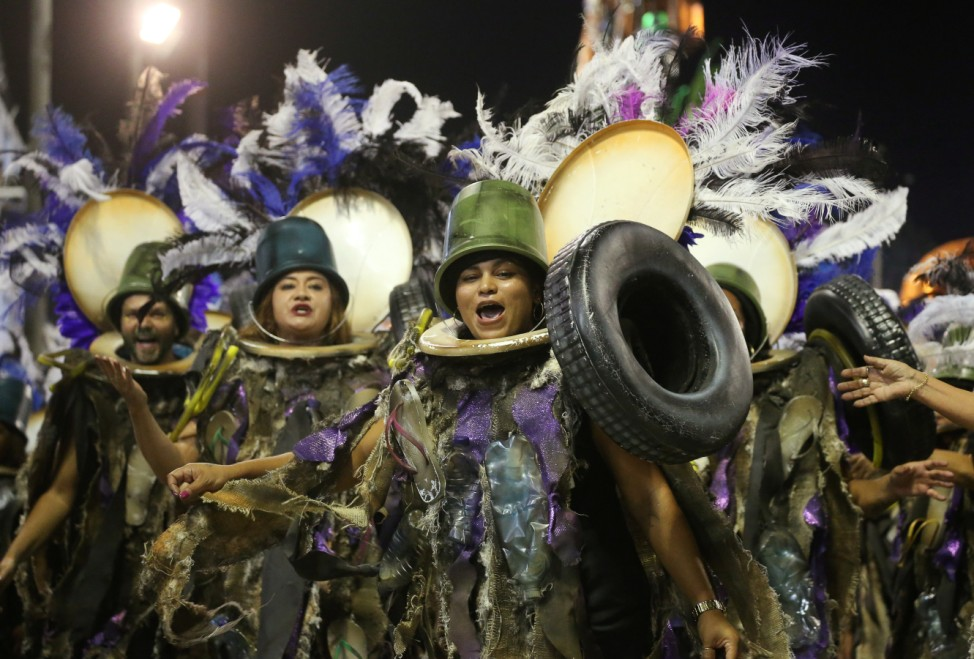 Reveller from Grande Rio Samba school perform during the first night of the Carnival parade at the Sambadrome in Rio de Janeiro