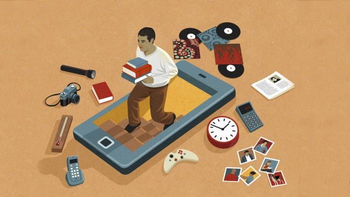 Mann râÄ°umt Keller von Dingen aus die durch Smartphone Apps obsolet geworden sind PUBLICATIONxINxGER