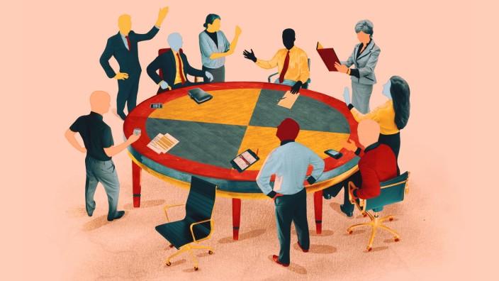Konversation und Streit um den runden Tisch im Büro