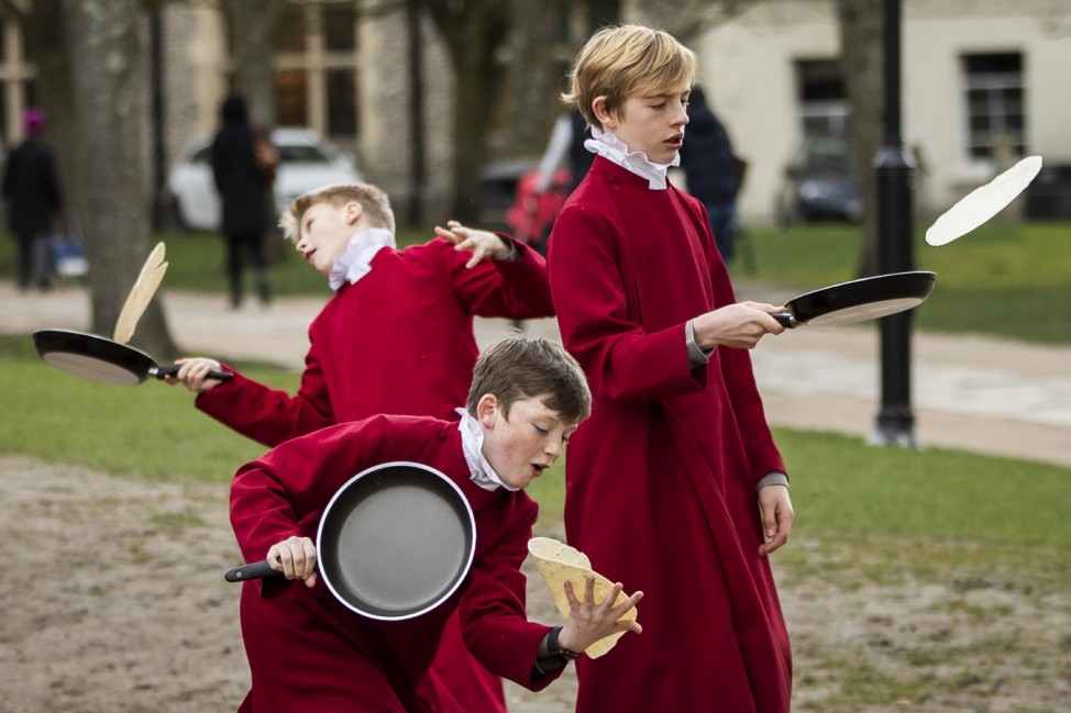 *** BESTPIX *** Shrove Tuesday Pancake Race Is Held At Winchester Cathedral