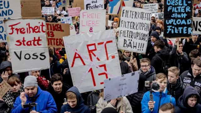 Protest gegen Uploadfilter und EU-Urheberrechtsreform 2019 in Berlin