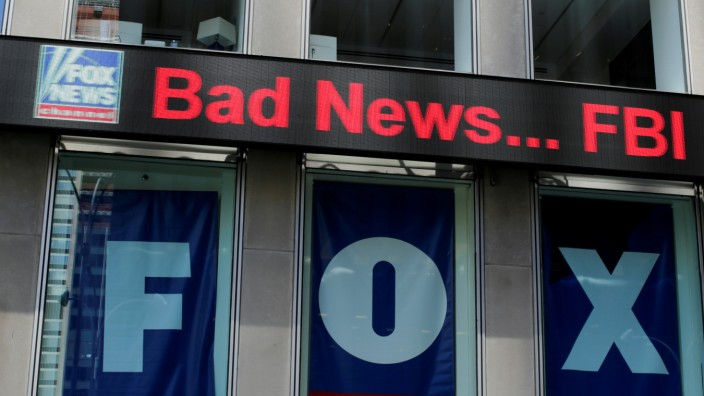 FILE PHOTO: The Fox News electronic ticker is seen at the News Corporation building in the Manhattan borough of New York City, New York