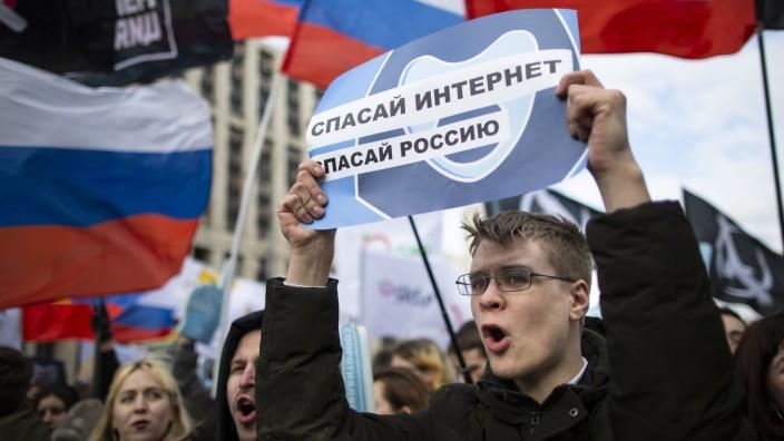 Demonstration für freies Internet in Moskau