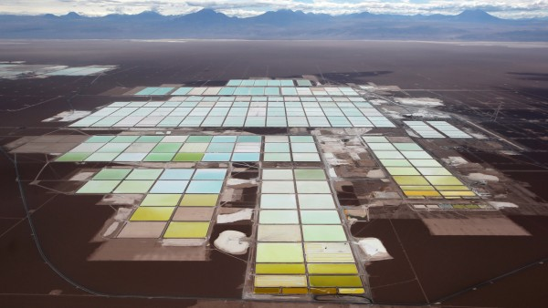 FILE PHOTO: An aerial view shows the brine pools and processing areas of the SQM lithium mine on the Atacama salt flat, in the Atacama desert of northern Chile