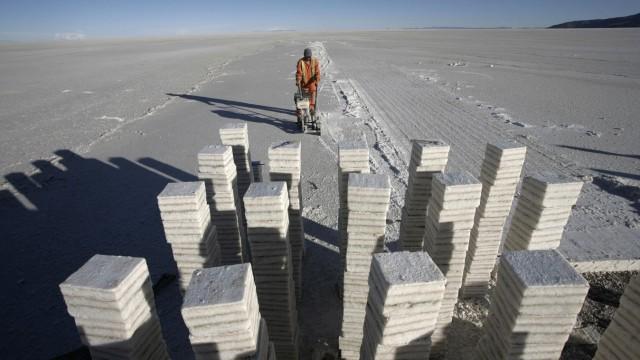 Blocks of salt are seen on Uyuni salt lake south of La Paz