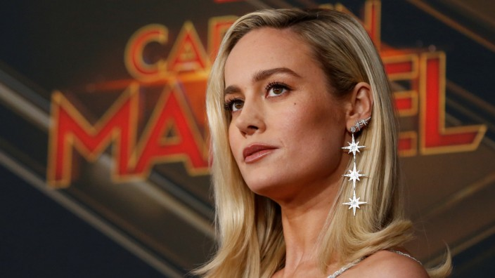 Cast member Brie Larson poses at the premiere for the movie 'Captain Marvel' in Los Angeles