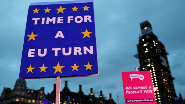 FILE PHOTO: Anti-Brexit banners are seen during a demonstration outside the Houses of Parliament in London