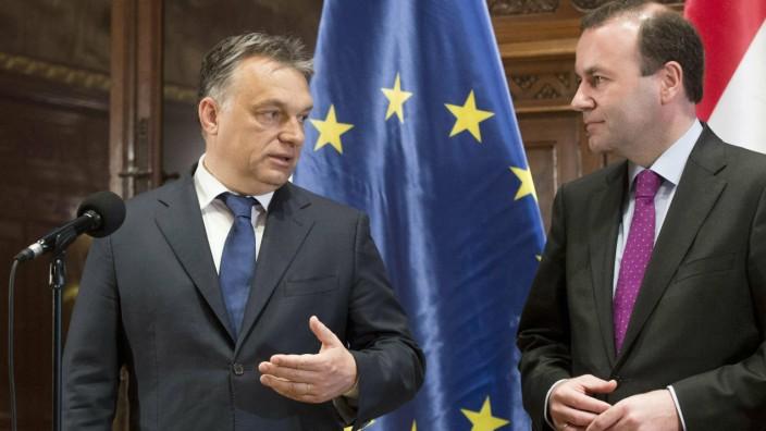 Streit in der EVP: Der ungarische Ministerpräsident Orbán (links) mit Manfred Weber, dem Spitzenkandidaten der Europäischen Volkspartei.