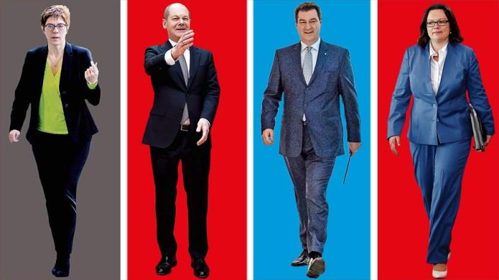 Ein Jahr große Koalition: Die CDU-Vorsitzende Annegret Kramp-Karrenbauer, und SPD-Finanzminister Olaf Scholz (der Auslöser der jüngsten Querelen in der Koalition ist), CSU-Chef Markus Söder und die SPD-Vorsitzende Andrea Nahles (von links).