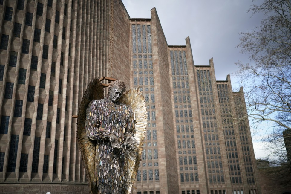 Knife Angel Sculpture By Alfie Bradley Installed At Coventry Cathedral