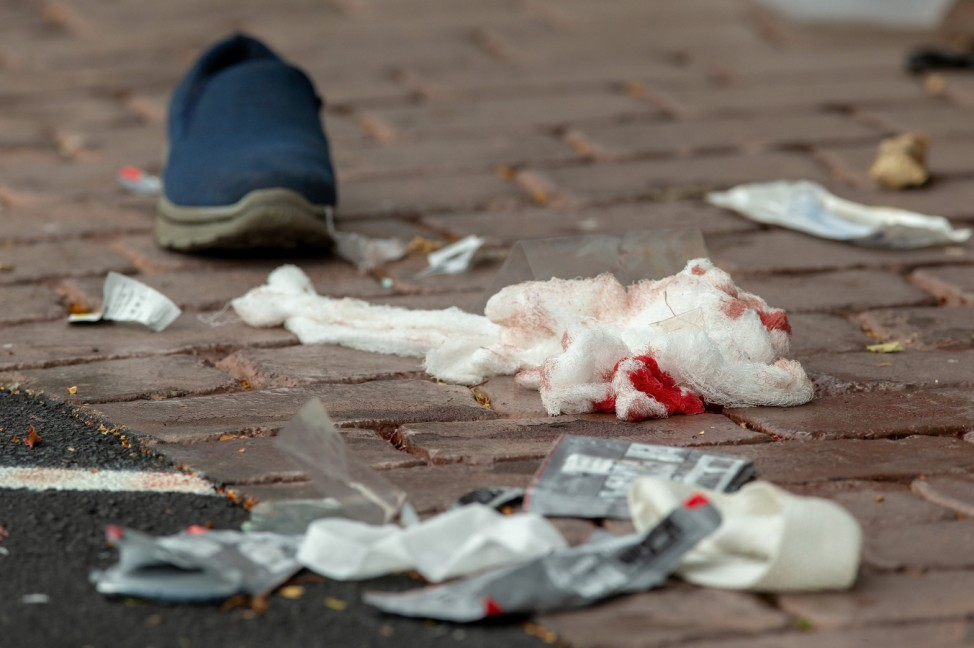 Bloodied bandages on the road following a shooting at the Al Noor mosque in Christchurch
