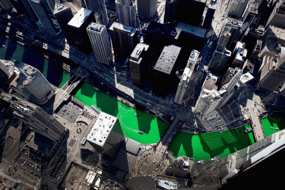 Chicago River Is Colored Green To Celebrate St. Patrick's Day