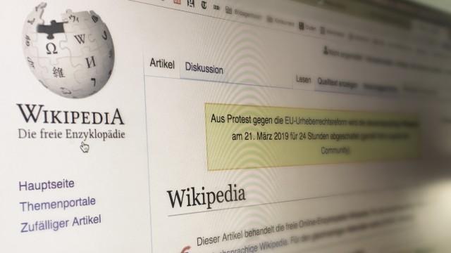 Artikel 13 - Hinweis auf Wikipedia zum Protest gegen geplante EU-Urheberrechtsreform