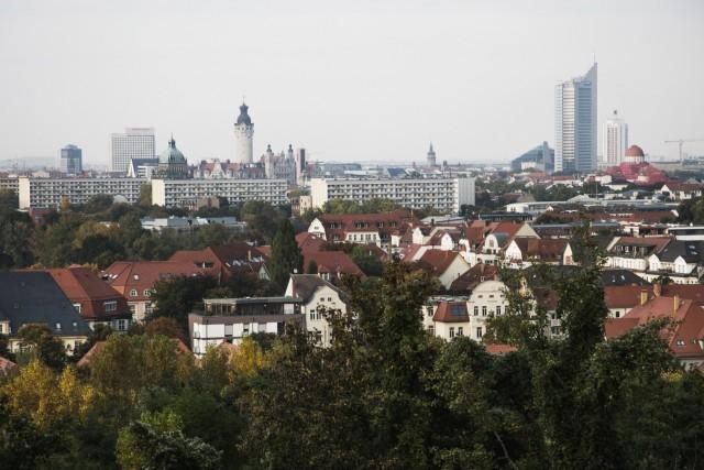 Blick auf das Stadtzentrum von Leipzig