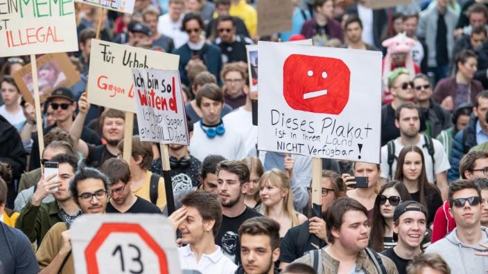 Protest gegen neues Urheberrecht - Stuttgart