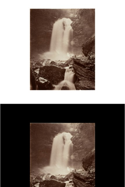 Adolphe Braun Griesbach-Wasserfall bei Brienz, um 1875, Albuminpapier Münchner Stadtmuseum, Sammlung Fotografie Waterfall at Griesbach, Brienz, ca. 1875, albuminized paper Münchner Stadtmuseum, Photo Collection