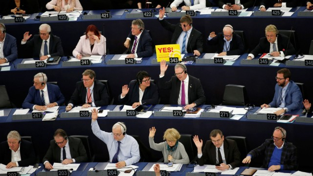 MEPs take part in a voting session on modifications to EU copyright reforms at the European Parliament in Strasbourg