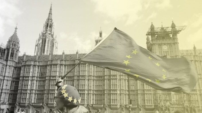 Brexit - Frau mit Europa-Fahne demonstriert vor dem Parlament in London