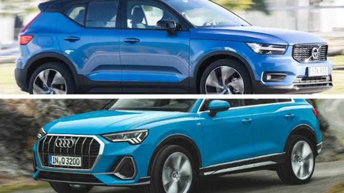 Volvo XC40 gegen Audi Q3: Volvo XC40 (oben) gegen Audi Q3: Welcher Mittelklasse-SUV bietet mehr für den hohen Anschaffungspreis?