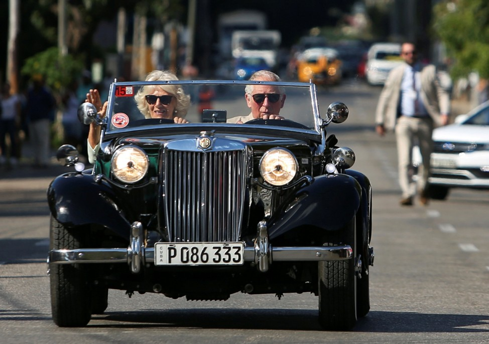 Britain's Prince Charles and Camilla, Duchess of Cornwall arrive at a British Classic Car event in Havana