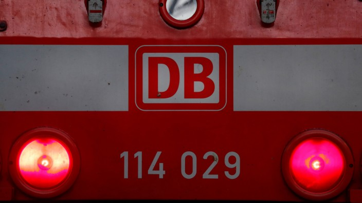 A locomotive engine of German railway Deutsche Bahn is seen at the main train station in Frankfurt