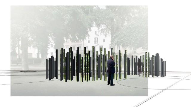 """DENKMAL FÜR DIE """"WASSERBURGER OPFER"""" DES NATIONALSOZIALISMUS AM HEISERERPLATZ IN WASSERBURG AM INN Entwurf: Dagmar Korintenberg und Wolf Kipper"""