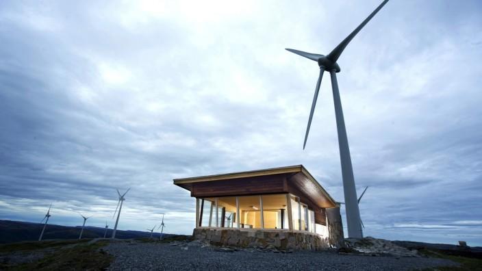 Ausbau der Windkraft: Die Norweger beziehen 98 Prozent ihres Stroms aus erneuerbaren Energien, wie hier vom Bessakerfjellet-Windpark nördlich von Trondheim.
