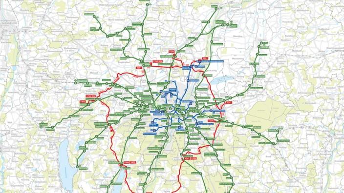 S-Bahn München - Geplante Ringbuslinien für das Münchner Umland