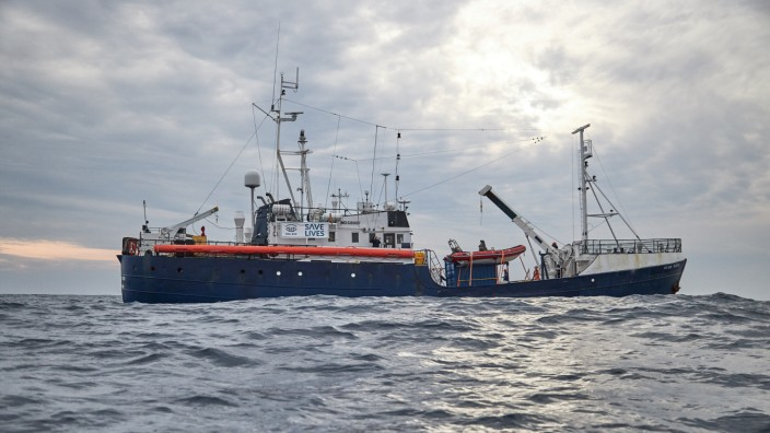 The Alan Kurdi vessel, run by the German charity Sea-Eye, sails in the Mediterranean sea