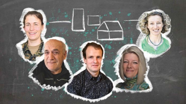 Werkstatt Demokratie: Fünf Menschen, fünf Überzeugungen: Wir haben Beatrix Becker, Ljupco Gjelevski, Michael Stadler, Dorothea Biehler und Nina Schlesener (v.l.n.r.) nach ihrer Vorstellung von Heimat gefragt.