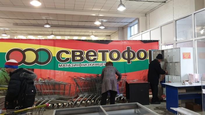 Swetofor-Markt in Krasnojarsk, Sibirien