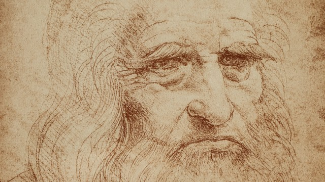 Self-portrait of Leonardo da Vinci; celebrated drawing by the Master. Biblioteca Reale, Turin