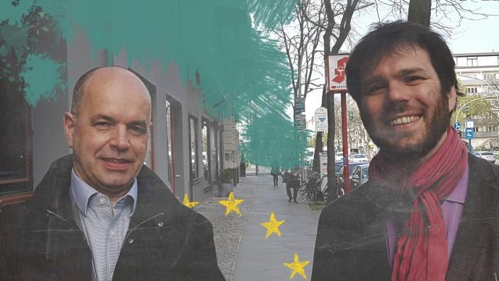 """Werkstatt Demokratie: Ulrich Speck (links), 54, ist Außenpolitikexperte und Senior Visiting Fellow beim German Marshall Fund in Berlin. Manuel Müller, 34, ist wissenschaftlicher Referent der Geschäftsführung beim Institut für Europäische Politik, Berlin, und betreibt das Blog """"Der (europäische) Föderalist""""."""