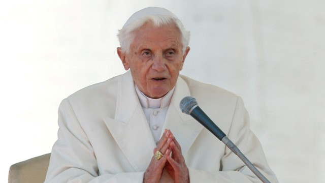 FILE PHOTO: Pope Benedict XVI finishes his last general audience in St Peter's Square at the Vatican