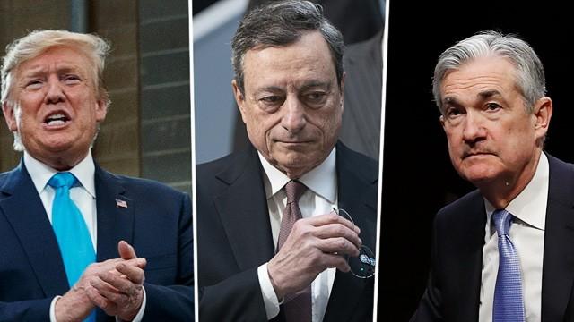 IWF-Frühjahrstagung: US-Präsident Trump, EZB-Chef Mario Draghi und der Chef der Fed Jerome Powell