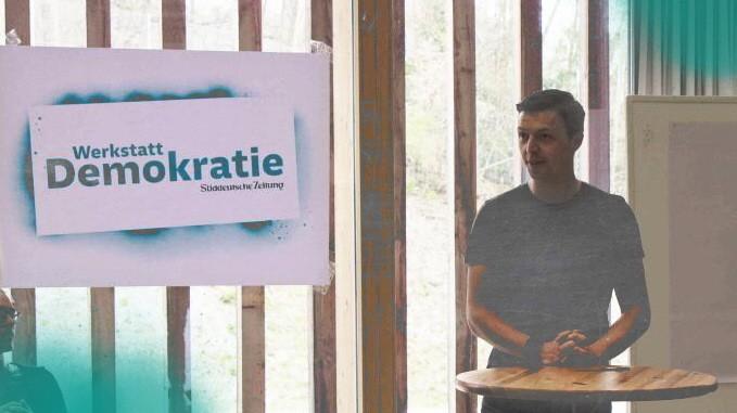 Werkstatt Demokratie: Martin Grubinger während seines Impuls-Referats bei der Werkstatt Demokratie.