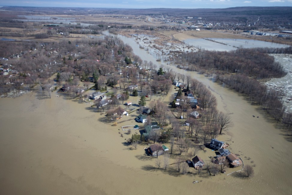 A view from a Canadian Forces helicopter shows the flooded region of Rigaud, Quebec, Canada