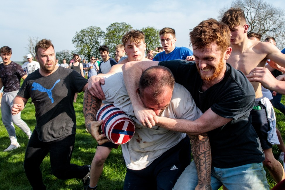 Hare Pie Scramble And Bottle Kicking Traditional Easter Monday Celebration