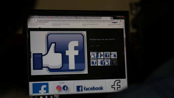 An illustration photo shows the Facebook page displayed on a computer screen at a cyber-cafe in downtown Nairobi