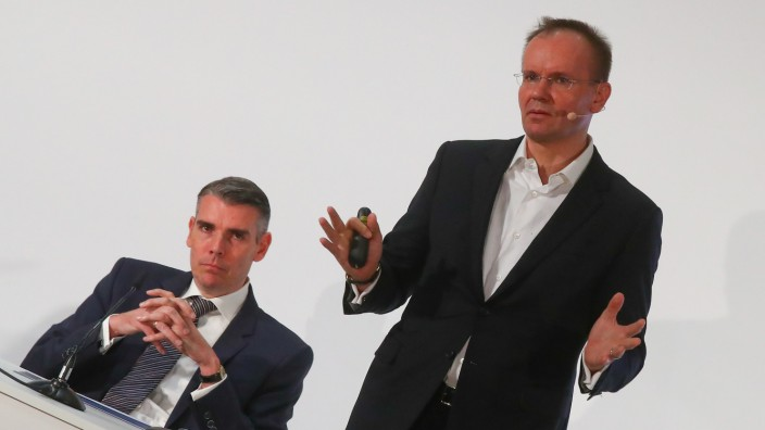 Braun and von Knoop of Wirecard AG attend the company's annual news conference in Aschheim
