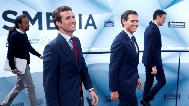 Main candidates for Spanish general election hold their second televised debate in Madrid