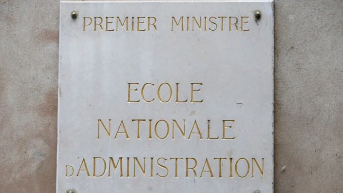 A signe that reads 'Prime Minister, National School of Administration' is seen on France's National School of Administration, ENA, (Ecole Nationale d'Administration) building in Strasbourg